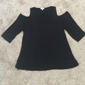 Zenana Outfitters Black Cold Shoulder Blouse